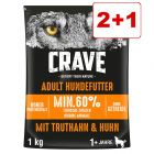 Crave Adult koiranruoka: 2 + 1 säkki kaupan päälle!