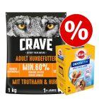 Crave karma sucha, 1 kg + Pedigree Dentastix, Dla dużych psów w super cenie!