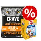 Crave karma sucha, 1 kg + Pedigree Dentastix, Dla małych/średnich psów w super cenie!!