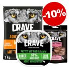 Crave 1 kg + barquette agneau, bœuf 300 g + friandises 55 g saumon : 10 % de remise !