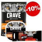 Crave 1kg + boîtes dinde, poulet 300g + friandises 75g bœuf: 10% de remise !