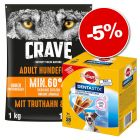 Croquettes Crave 1 kg + friandises Pedigree Dentastix Daily Oral Care 28 x : 5 % de remise !