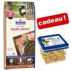 Croquettes bosch 12,5/15 kg + biscuits agneau, riz 1 kg offerts !