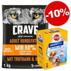 Croquettes Crave 1 kg + 28 friandises Pedigree Dentastix Daily Oral Care Maxi : 10 % de remise !