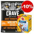 Croquettes Crave 1 kg + 28 friandises Pedigree Dentastix Daily Oral Care Medium : 10 % de remise !