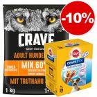 Croquettes Crave 1 kg + 28 friandises Pedigree Dentastix Daily Oral Care Mini : 10 % de remise !