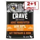 Croquettes Crave pour chien 2 x 1 kg + 1 kg offert !