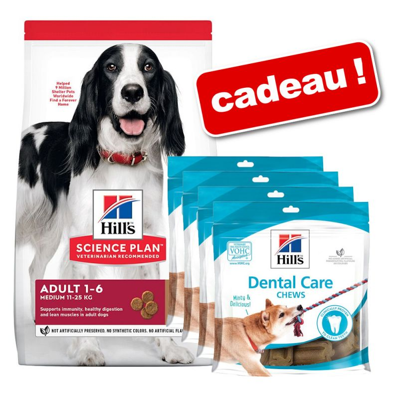 Croquettes Hill's Science Plan 18 kg + friandises Dental Care Chews 4 x 170 g offertes !