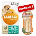 Croquettes IAMS for Vitality 12 kg + bâtonnets à mâcher 8in1 Delights, poulet 3 x 30 g offerts !
