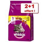 Croquettes Whiskas 1+ pour chat : 2 x 3,8 kg + 3,8 kg offerts !