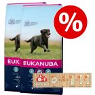 Dubbelpak Eukanuba Droogvoer + 8 in 1 snackbox gratis!