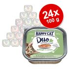 Ekonomipack: Happy Cat Duo - Bitar med paté 24 x 100