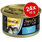 Ekonomipack: GimCat ShinyCat Jelly Kitten 24 x 70 g
