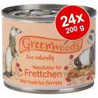 Ekonomipack: Greenwoods våtfoder för illrar 24 x 200 g