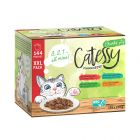 Ekonomipack: 144 x 100 g Catessy XXL blandpack bitar i sås eller gelé