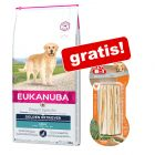 Eukanuba Adult Breed + 75 g (3 buc.) 8in1 Delights Sticksuri cu pui gratis!