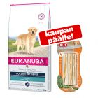 Eukanuba Adult Breed + 3 kpl 8 in 1 Delights -purutikkuja kaupan päälle!