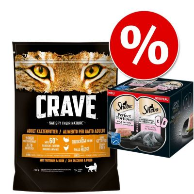 Extra voordelig! 750 g Crave droogvoer + 6 x 37,5 Sheba Perfect Portions Zalm natvoer