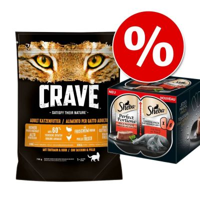 Extra voordelig! 750 g Crave droogvoer + 6 x 37,5 Sheba Perfect Portions Rund natvoer