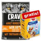 Extra voordelig! 1 kg Crave Droogvoer + Pedigree Dentastix 28 stuks