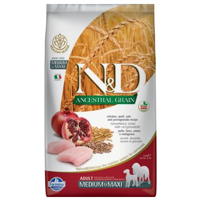 Farmina N&D Ancestral Grain Adult Medium & Maxi Pollo e Melograno
