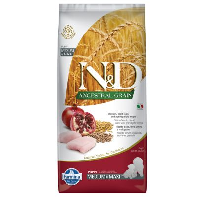 Farmina N&D Ancestral Grain Puppy Medium & Maxi mit Huhn & Granatapfel