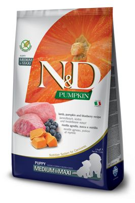 Farmina N&D Grain Free Pumpkin Puppy Medium & Maxi Agnello, Mirtilli, Zucca