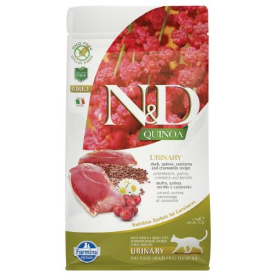 Farmina N&D Quinoa Cat Urinary Anatra, Quinoa, Mirtillo rosso e Camomilla