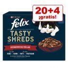 Felix Tasty Shreds comida húmeda para gatos en oferta: 20 + 4 ¡gratis!