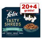 Felix Tasty Shreds comida húmida em promoção: 20 + 4 grátis!