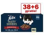 Felix Tasty Shreds 44 x 80 g comida húmeda en oferta: 38 + 6 ¡gratis!