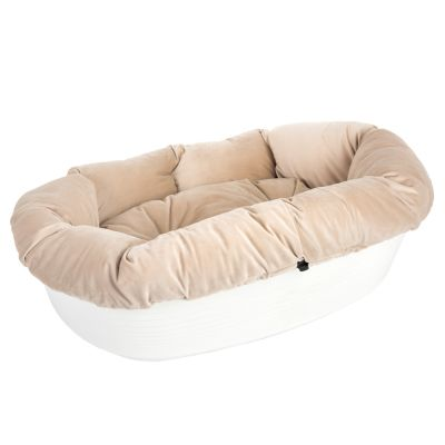 Ferplast Siesta Deluxe White Dog Basket with Cover – Beige Velvet