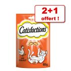 Friandises Catisfactions Dreamies 60 g, 2 + 1 offerte !