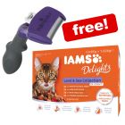 FURminator DeShedding Tool Cats + 12 x 85g IAMS Delights Wet Food Free!*