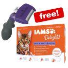 FURminator DeShedding Tool Cats + 12 x 85g IAMS Delights Wet Food Free!*