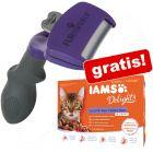 FURminator deShedding Tool for katter + 12 x 85 g IAMS Land & Sea våtfòr