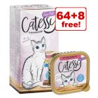 100g Catessy Fine Pâté Tray Wet Cat Food - 64 + 8 Free!*