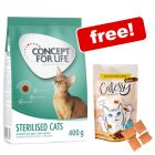 400g Concept for Life Dry Cat Food + Catessy Crunchy Snacks Free!*