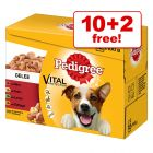 100g Pedigree Wet Dog Food Pouches - 10 + 2 Free!*