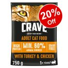 750g Crave Adult Dry Cat Food - 20% Off!*