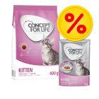 400 g  / 3kg Concept for Life Kitten torrfoder + 12 x 85g Concept for Life Kitten våtfoder