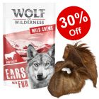 """120g Wolf of Wilderness """"High Valley"""" Dried Cows' Ears with Fur - 30% Off!*"""