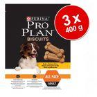 Galletas para perros Purina Pro Plan: 3 x 400