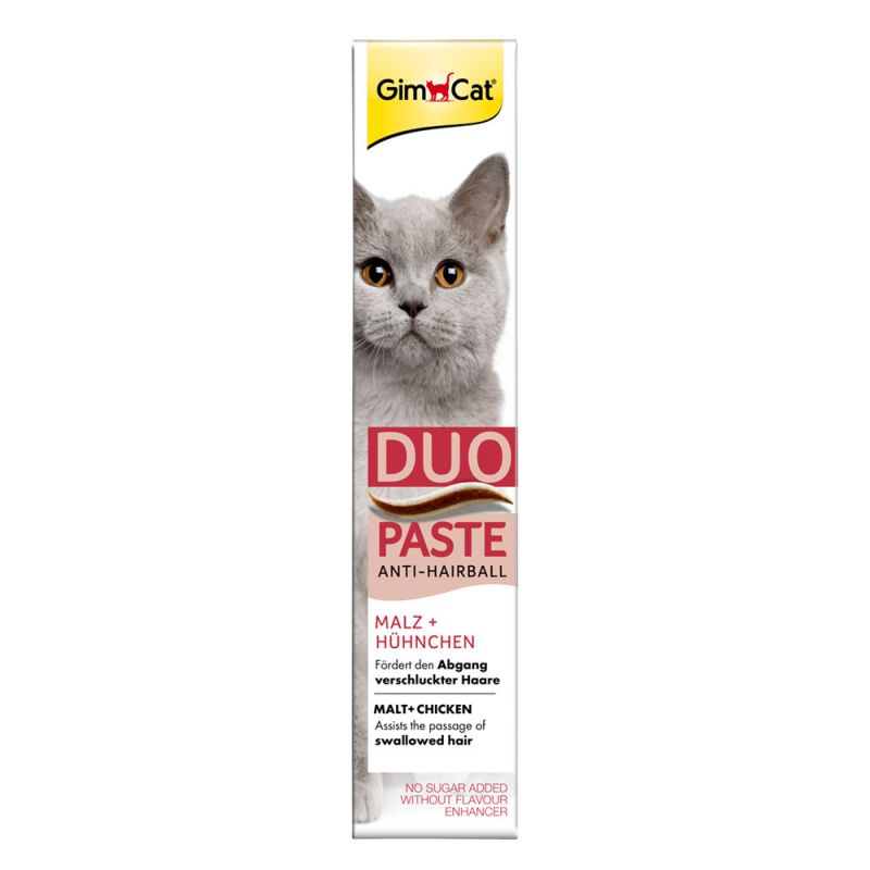 GimCat Duo Paste Anti-Hairball con malta y pollo para gatos