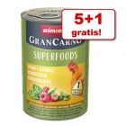5 + 1 gratia! 6 x 400 g Animonda GranCarno Adult Superfoods