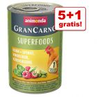 5 + 1 gratis! Animonda GranCarno Adult Superfoods, 6 x 400 g
