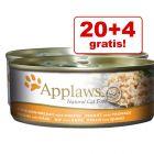 20 + 4 gratis! Applaws våtfòr i buljong eller gelè 24 x 156 g