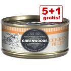 5 + 1 gratis! Bij aankoop van 6 x 70 g Greenwoods Adult Kattenvoer