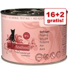 16 + 2 gratis! catz finefood hrană umedă, 18 x 200 g