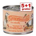 5 + 1 gratis! Greenwoods, mokra karma dla fretek, 6 x 200 g lub 400 g